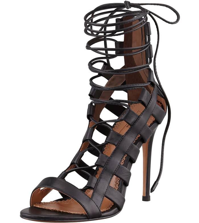"""Aquazzura """"Amazon"""" Lace-Up Ankle-Wrap Sandals"""