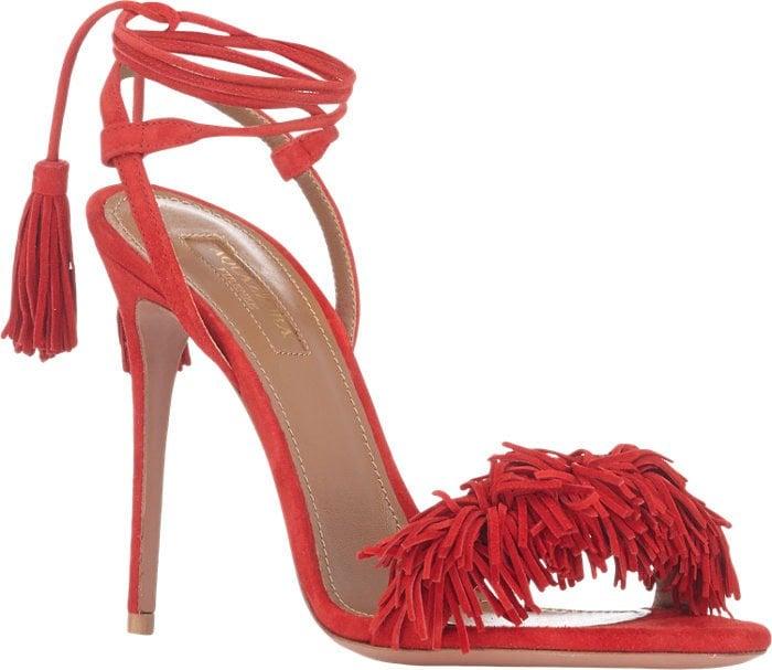 "Aquazzura ""Wild Thing"" Red Suede Sandals"