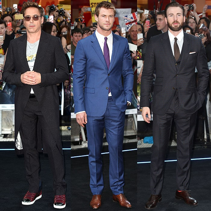 "The men of the Avengers: Robert Downey Jr., Chris Hemsworth, and Chris Evans, arriving at the ""Avengers: Age of Ultron"" premiere in London"