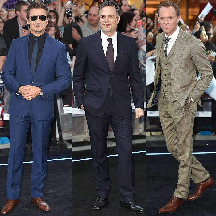 "The men of the Avengers: Jeremy Renner, Mark Ruffalo, and Paul Bettany gracing the ""Avengers: Age of Ultron"" European premiere"