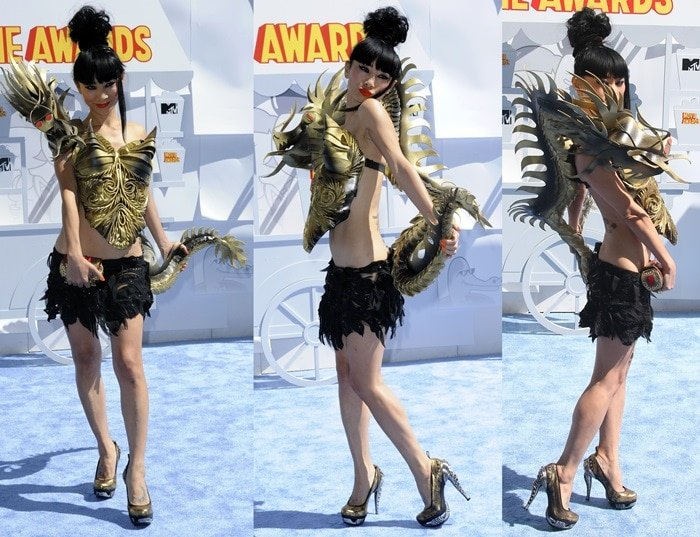 Bai Ling's gold plated 3D dragon dress with a tail that scaled all the way down her back