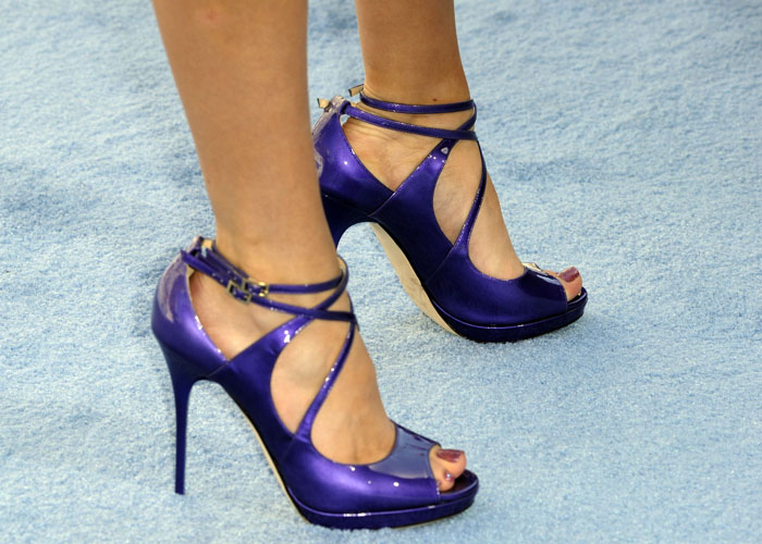 Bella Thorne wearing gorgeous purple Jimmy Choo 'Arica' patent sandals