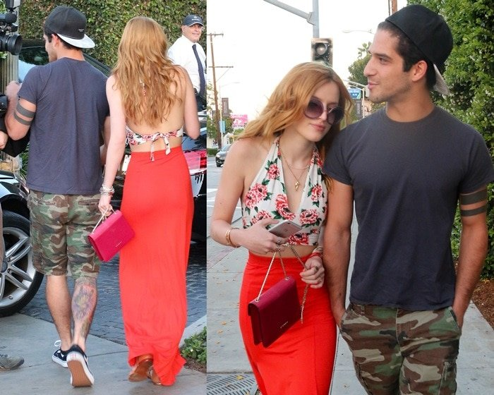 Bella Thorne out for dinner with boyfriend Tyler Posey in West Hollywood, CA on April 27, 2015