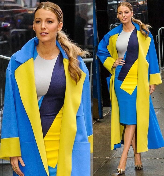 Blake-Lively-Roksanda-Lockwood-colorblock-dress-and-coat