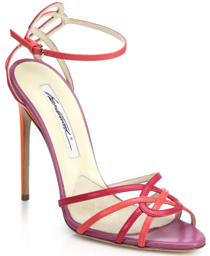 Brian Atwood Pink Cassia Colorblock Leather Sandals