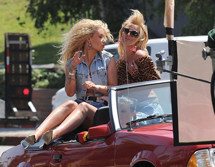Britney Spears and Iggy Azalea shooting the music video for their 'Pretty Girls' song duet in Studio City, Los Angeles, on April 9, 2015
