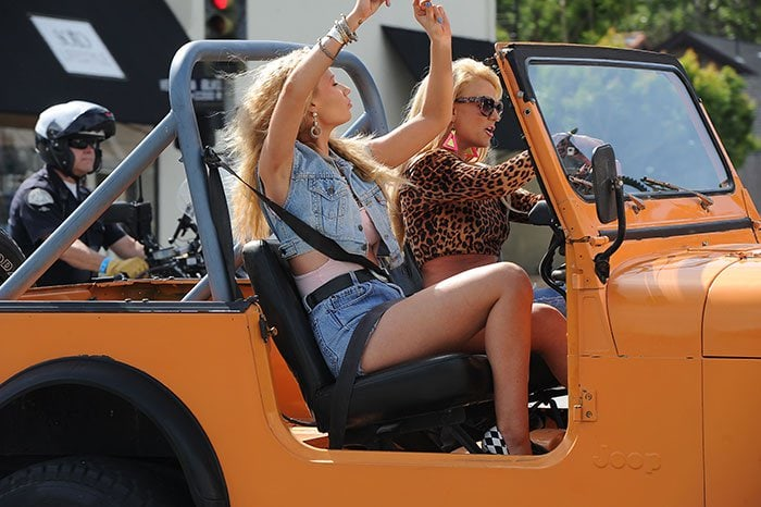 Britney Spears and Iggy Azalea shooting the music video for their 'Pretty Girls' song duet