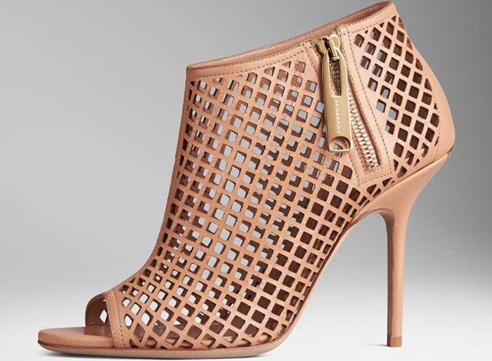 Burberry Lattice Peep-Toe Ankle Boots