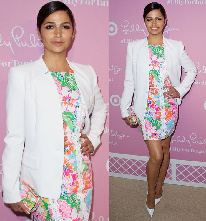 Camila-Alves-in-floral-dress-and-white-pumps