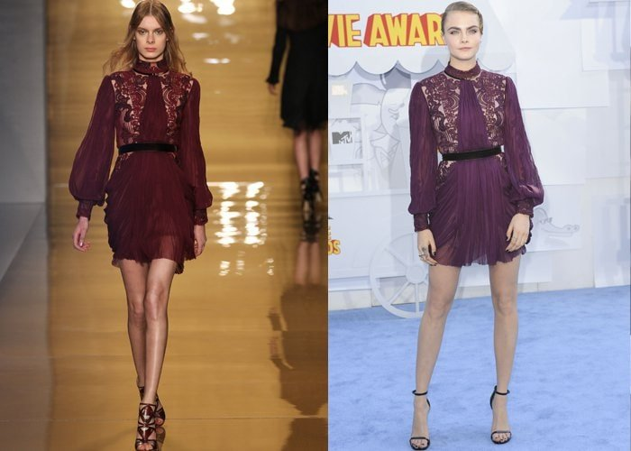 Cara Delevingne in a gorgeous dress from the Reem Acra Fall 2015 Collection