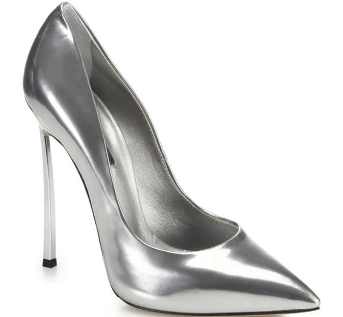 Casadei Blade-Heel Pumps in Metallic Silver