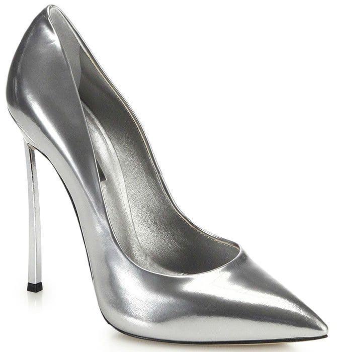 Casadei silver blade heel pumps
