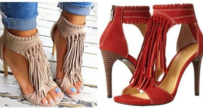 30ad0319d7a Suede Whipstitched  Santa Fe  Sandals With Fringe Detailing