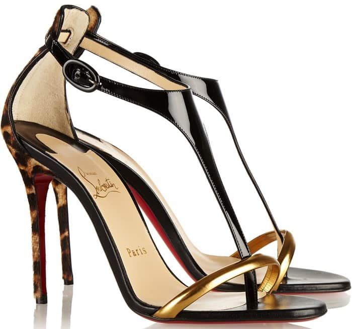 Christian Louboutin Animal Athena Alta 100 Leopard print and Patent leather Sandals
