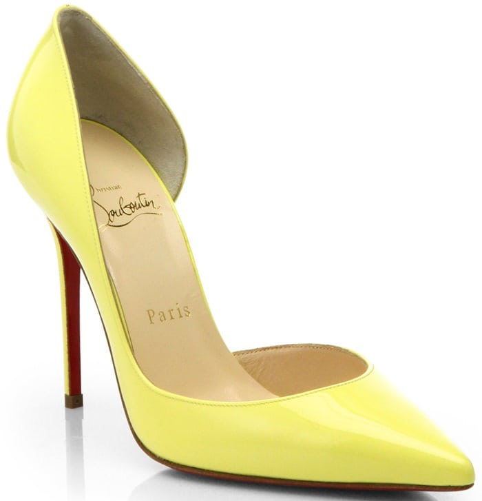 Christian Louboutin Yellow Iriza Patent Leather D'Orsay Pumps
