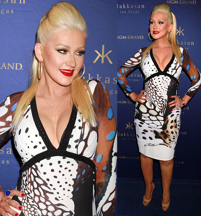 Christina Aguilera highlighted her curves in an animal print dress