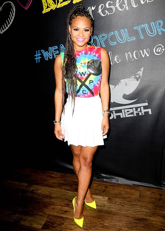 Christina Milian flaunted her hot legs in a white American Apparel pleated tennis skirt