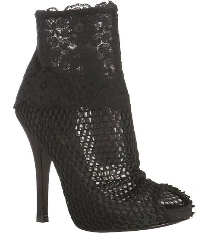 Dolce & Gabbana Black Mesh and Floral Lace Peep-Toe Booties
