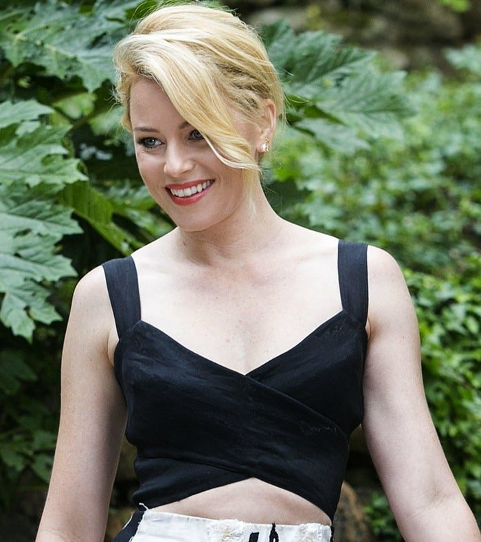 Elizabeth Banks flashed her midriff in a cropped cutout stretch-organza top