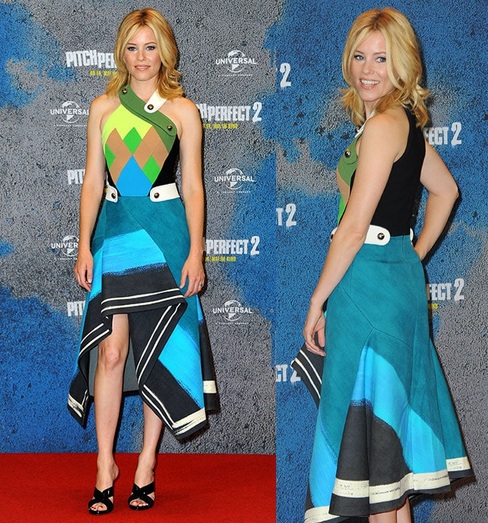 """Elizabeth Banks in Peter Pilotto Fall 2015 dress at the photo call for """"Pitch Perfect 2"""""""