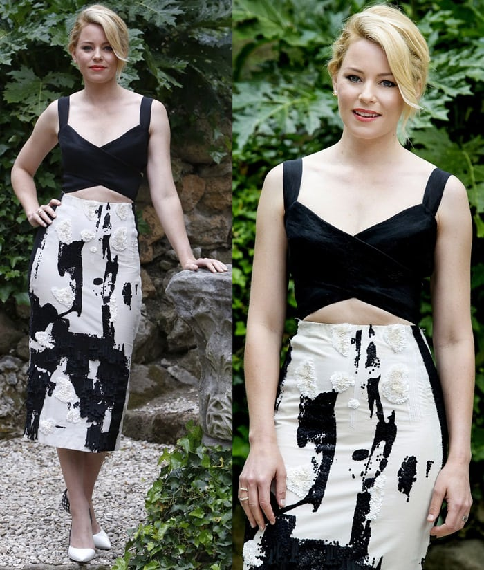 Elizabeth Banks's cow print skirt by Donna Karan