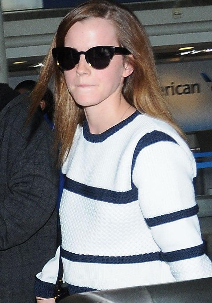 Emma Watson arrives at Los Angeles International Airport on April 22, 2015