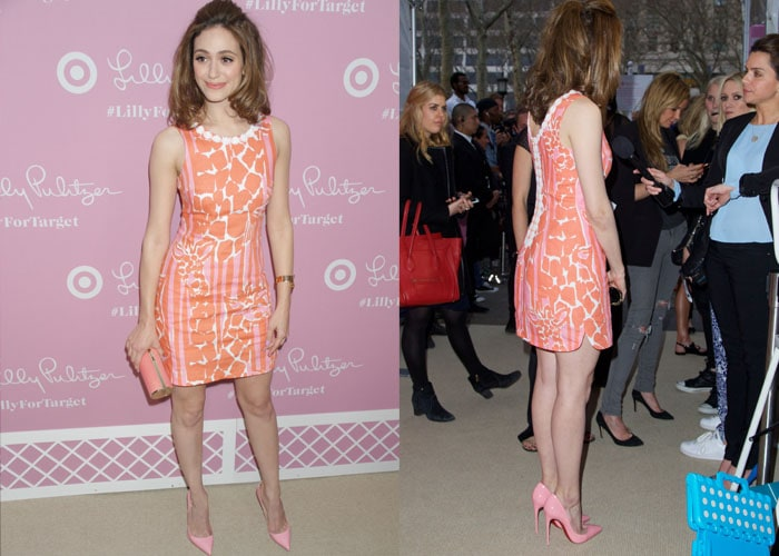 Emmy Rossum wore a cute giraffe print dress from the Target collection, dressing it up with a cylinder clutch and the ever trustworthy Christian Louboutin Pigalle Follies in pink patent