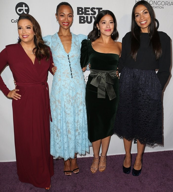Eva Longoria, Zoe Saldana, Gina Rodriguez, and Rosario Dawson attending the Eva Longoria Foundation Dinner Gala