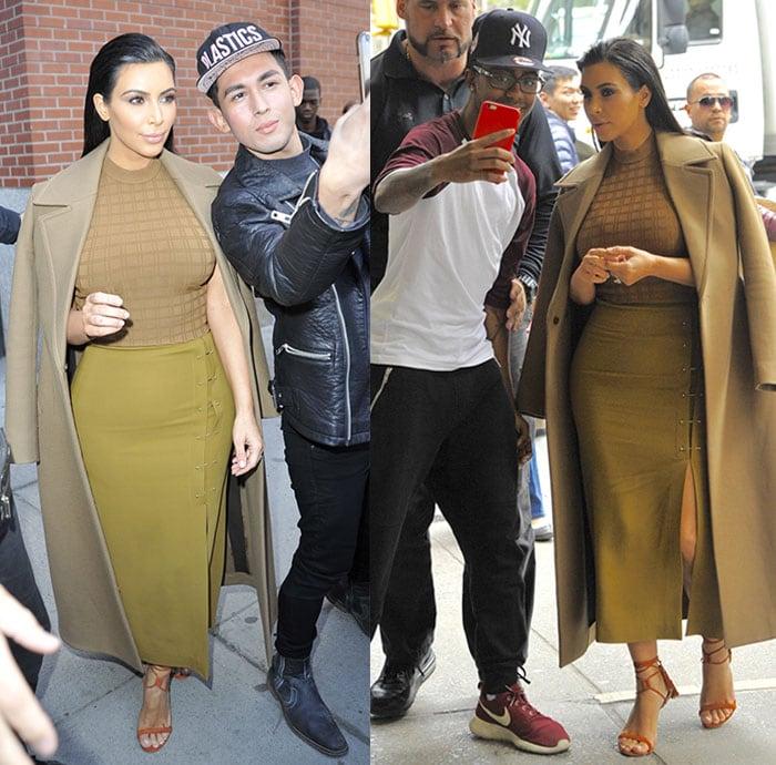 Fans taking selfies with Kim Kardashian in Soho