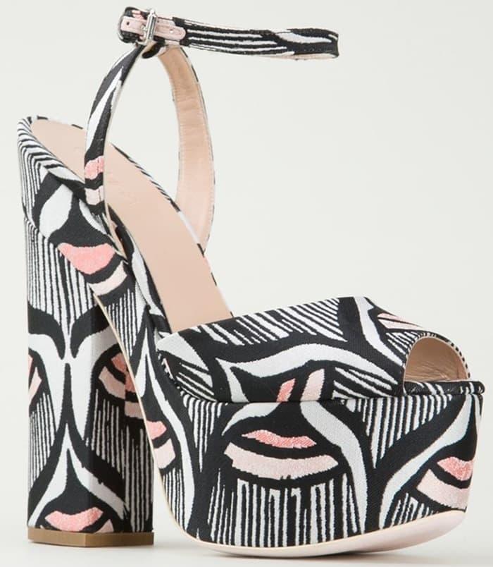 Giamba Printed Fabric-Covered Platform Sandals
