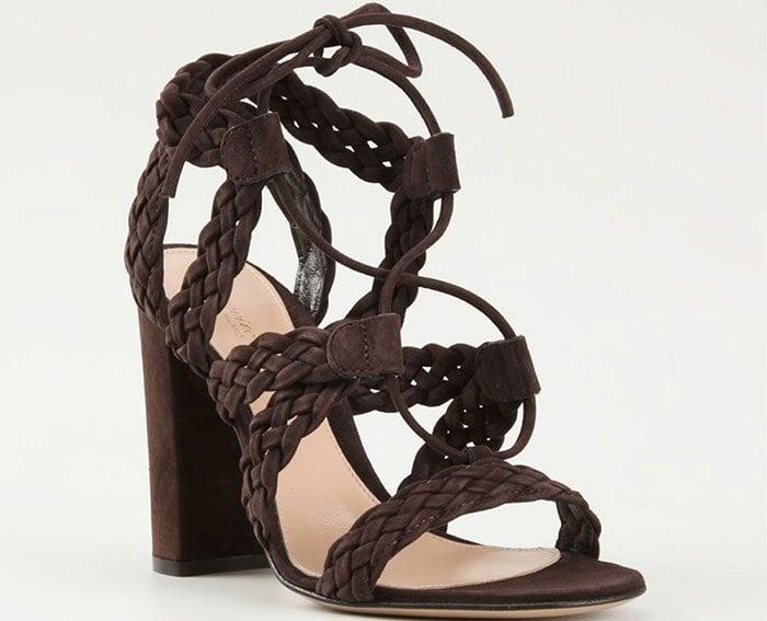 Gianvito Rossi Jimi Braided Sandals in Dark Brown