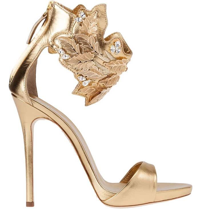 Giuseppe-Zanotti-Leaf-Detail-Sandals-in-Gold