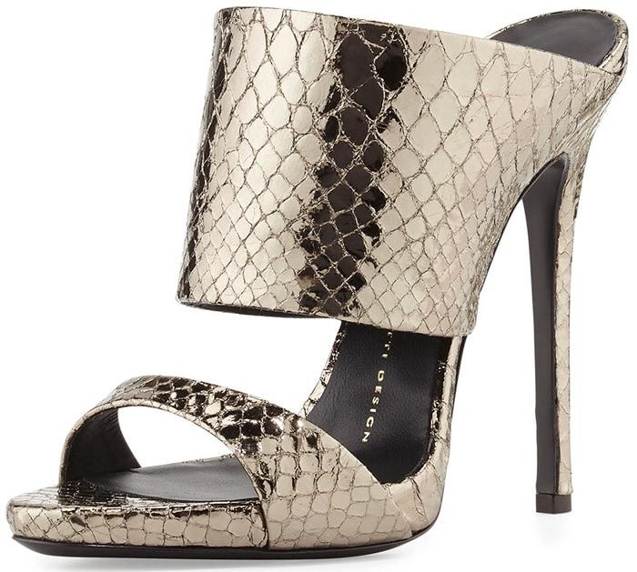 Giuseppe Zanotti Metallic Python-Embossed Slide Sandal
