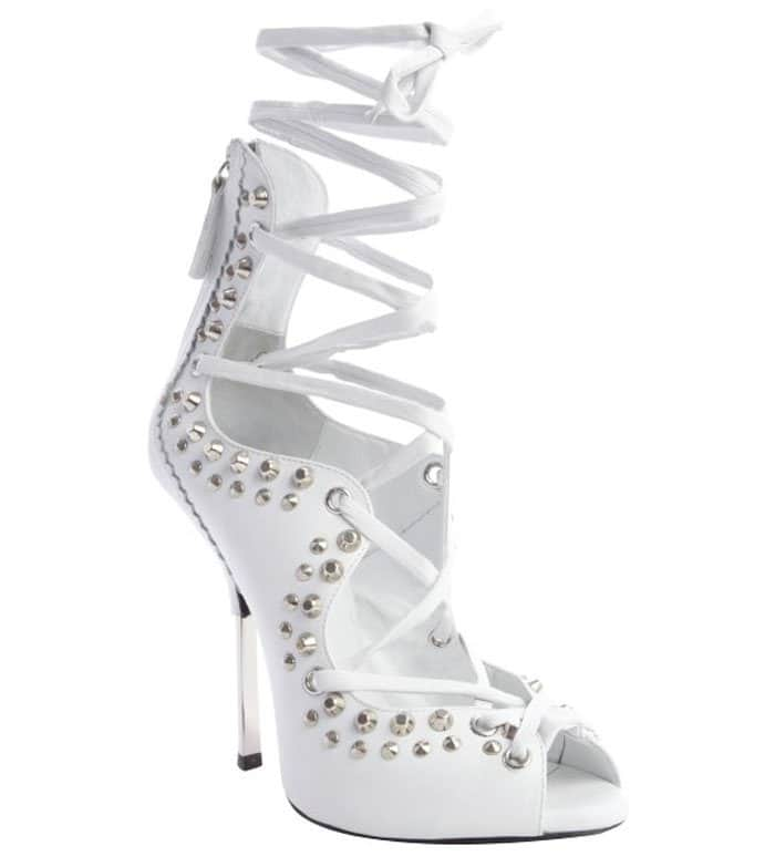 Giuseppe Zanotti White Leather Studded Lace Up