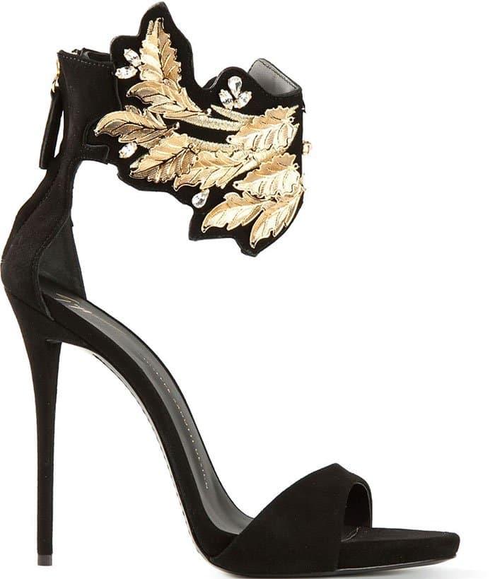 Giuseppe-Zanotti-black-suede-sandals-gold-leaf-detail