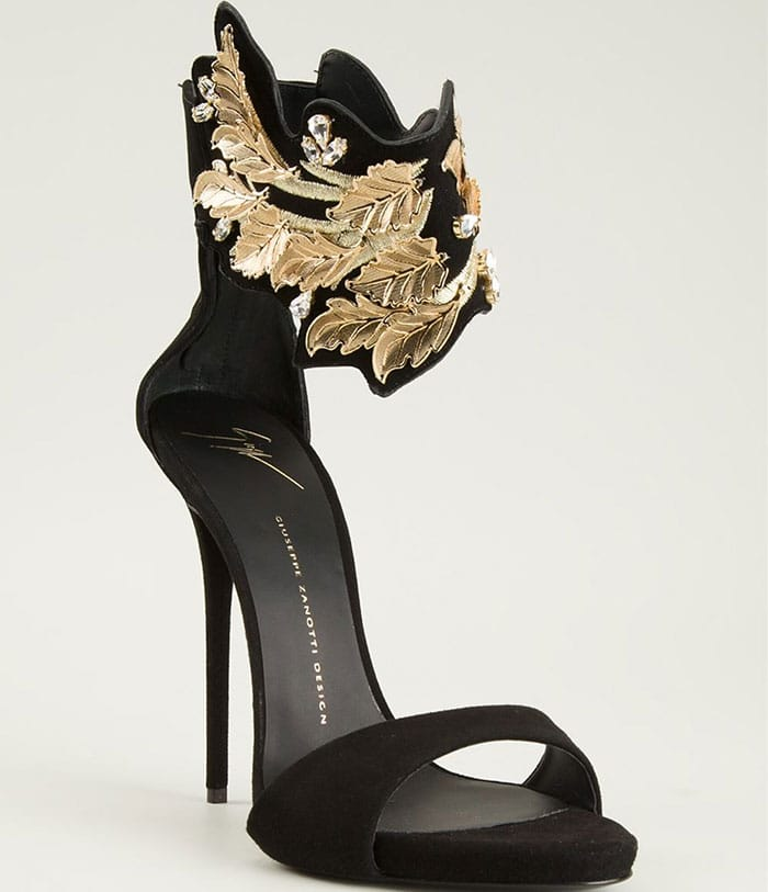 Giuseppe-Zanotti-sandals-leaf-and-crystal-ankle-strap