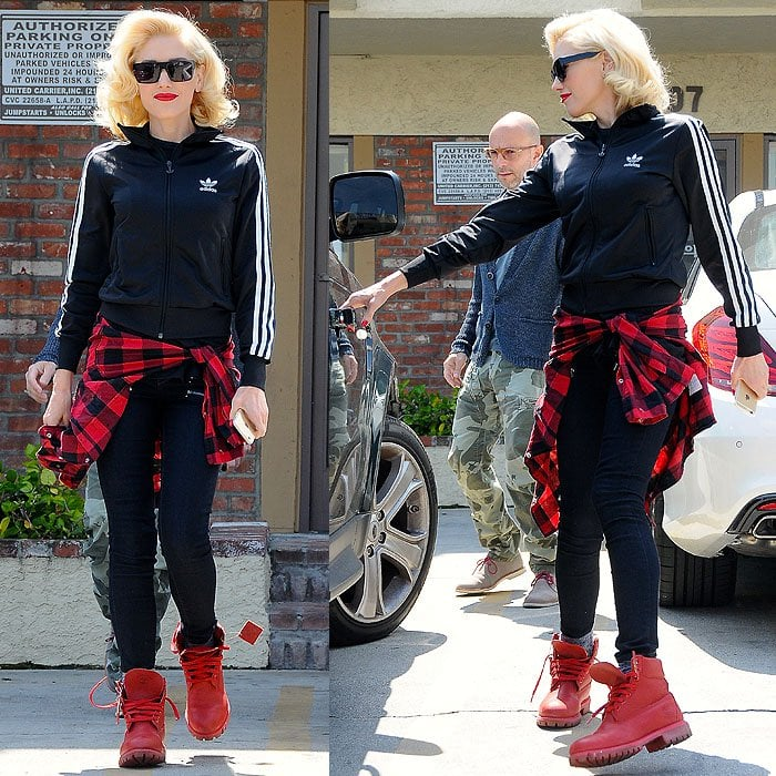 Gwen Stefani wearing Timberland boots
