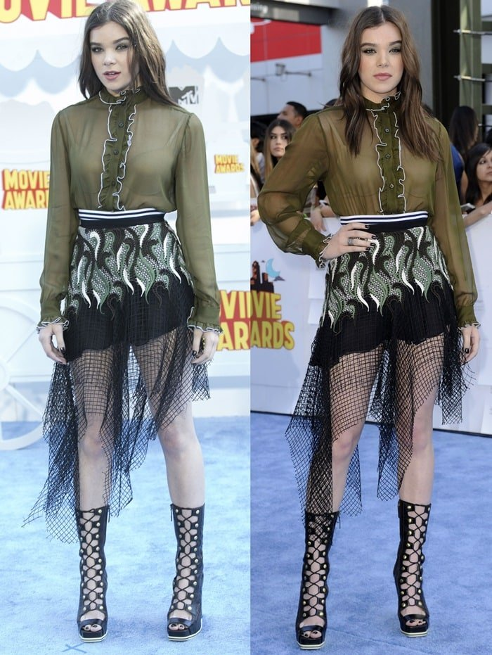 Hailee Steinfeld flaunted her legs in an odd look from the Rodarte Spring 2015 collection