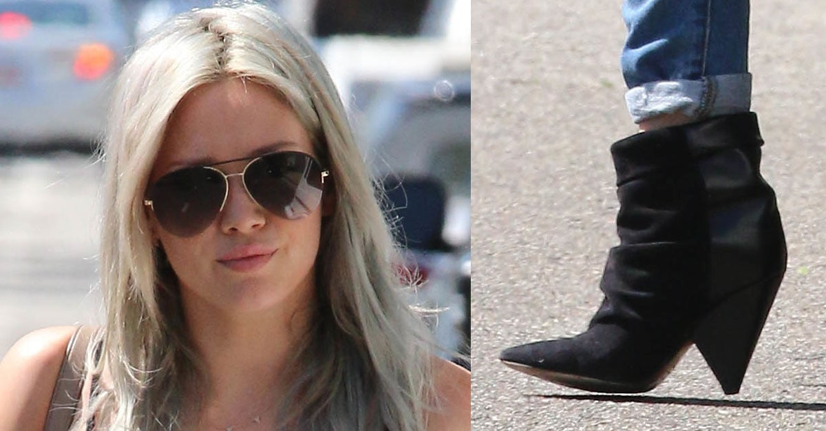 Hilary Duff Uses Tinder In Skin-Tight Ripped Tortoise Jeans