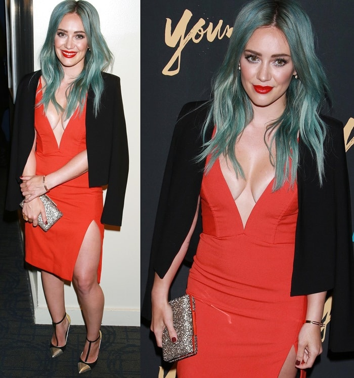 Hilary Duff flashed her legs in a deep v-neck dress from Mason by Michelle Mason