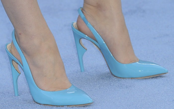 Holland Roden's hot feet in blue slingback Karma goatskin pumps