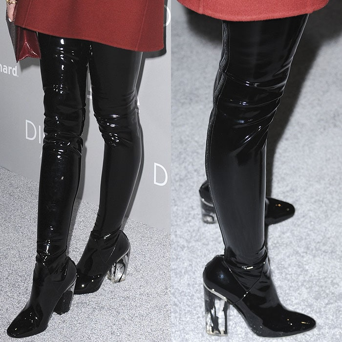 Dior Fall 2015 vinyl thigh-high boots on Jaime King