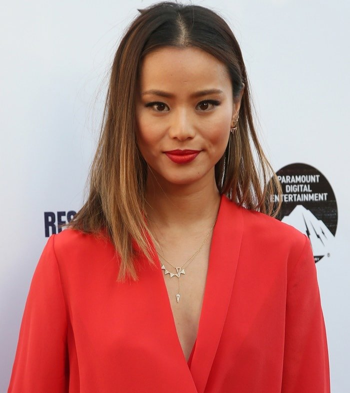 Jamie Chung at the premiere of Hulu's 'Resident Advisors' at Sherry Lansing Theatre at Paramount Studios in Los Angeles on March 31, 2015