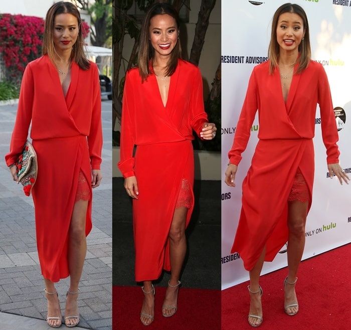 Jamie Chung's red silk crepe wrap dress
