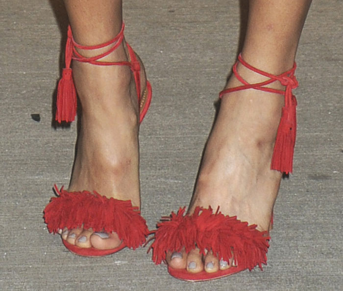 Jamie Chung's sexy feet in Aquazzura sandals