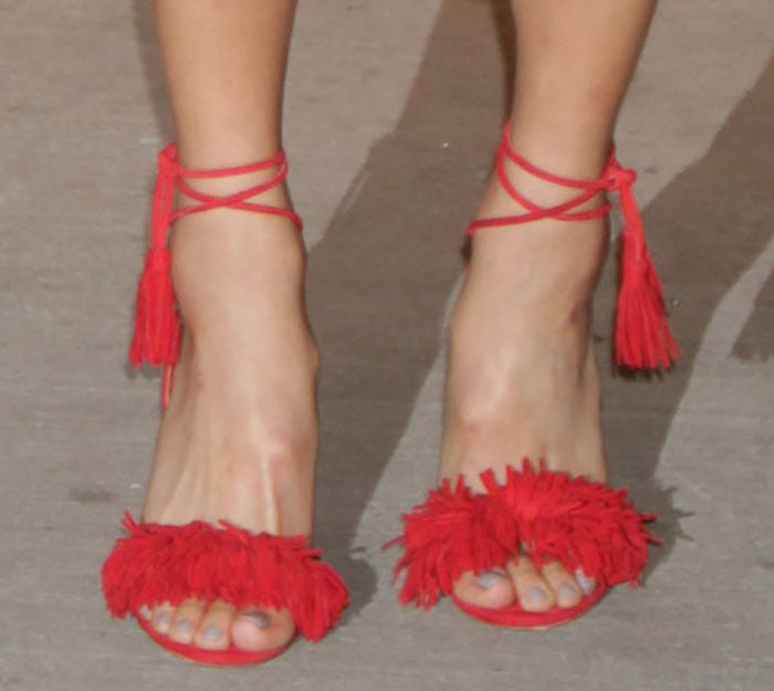 Jamie Chung showed off her pretty feet in Wild Thing sandals