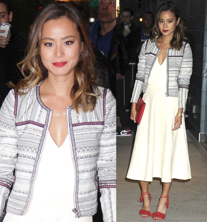 Jamie-Chung-white-dress-red-sandals-Avengers-premiere