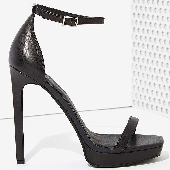 "Jeffrey Campbell ""Strides"" Ankle-Strap Sandals in Black Leather"