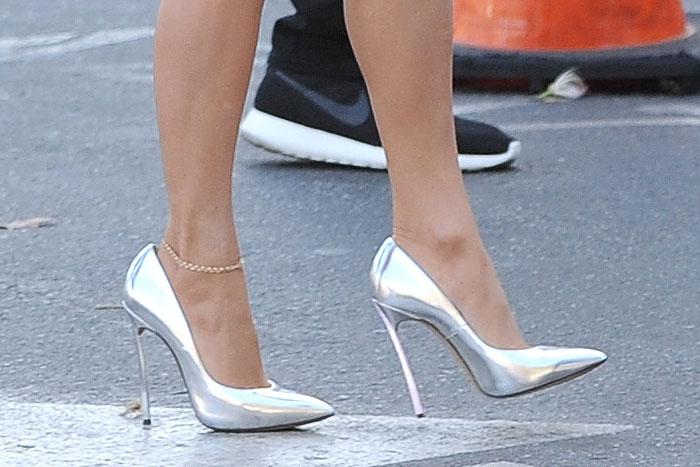 Silver Casadei blade-heel pumps on Jennifer Lopez