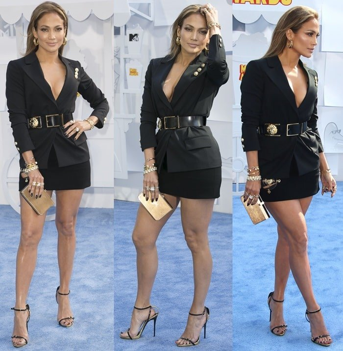 Jennifer Lopez flaunted her cleavage and legs